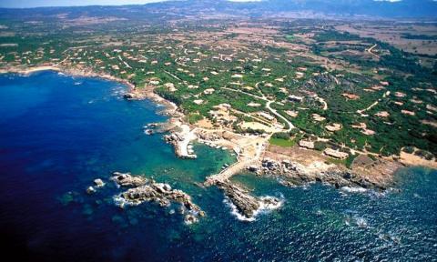 Luchtfoto van Portobello gelegen in Sardinië.